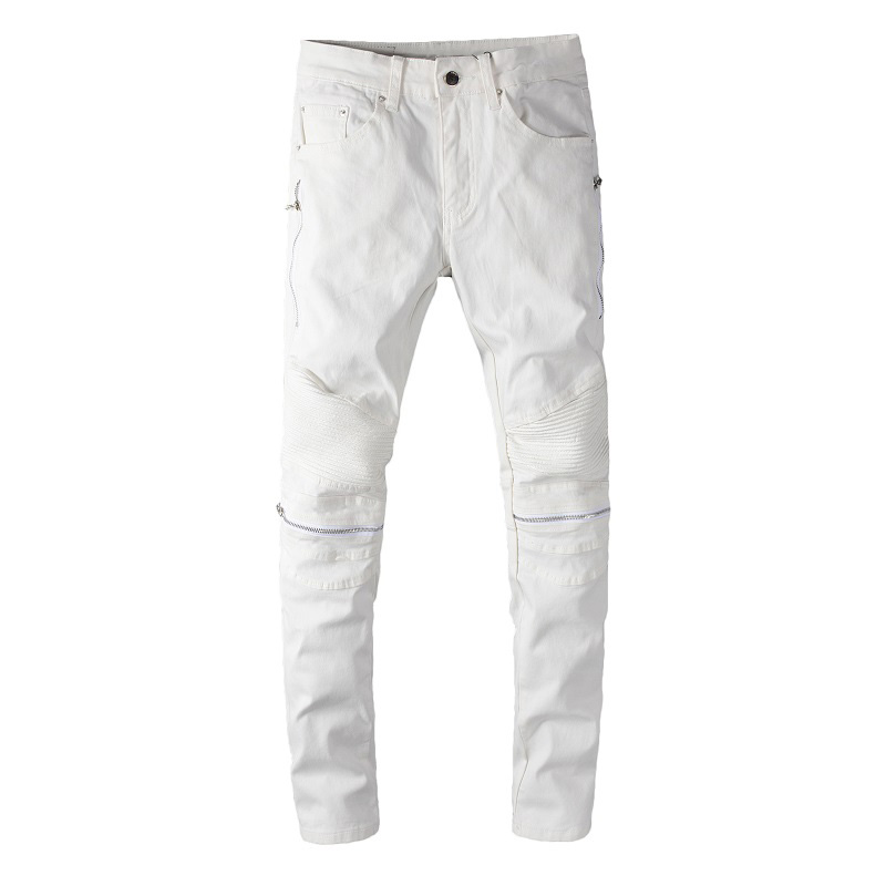 Sokotoo Men's White PU Leather Patchwork Zipper Biker Jeans Stretch Denim Slim Skinny Pencil Pants Streetwear Trousers