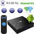 ТВ-приставка T9, Android 9,0, 4 Гб ОЗУ, 64 Гб ПЗУ, 4K, H.265, 2,4 ГГц и фото, двойной Wi-Fi, четырехъядерный процессор RK3318, Bluetooth 4,0, умная ТВ-приставка