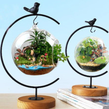 2pcs Wooden Base Iron Hanging Planter Stand DIY Flower Vase Stand Terrarium(China)