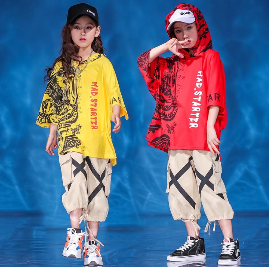 Teen Boys Grils Hip Hop clothing set Summer Loose Hooded T shirt pants street outfits for Girls Boys Jazz Dance Ballroom Costume
