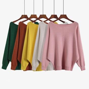 2020 Spring Autumn New Korean High Collar Women Sweater Loose Bat Lantern Sleeve Solid Color Pullover Sweater lantern sleeve plain pullover sweater