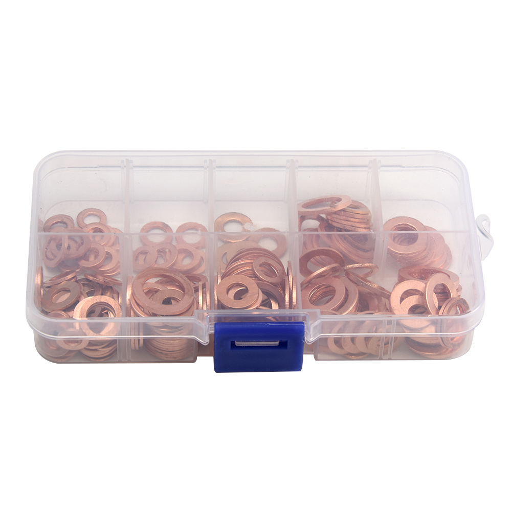 Copper Washer Gasket Nut and Bolt Set Flat Ring Seal Assortment Kit With Box //M8/M10/M12/M14 for Sump Plugs