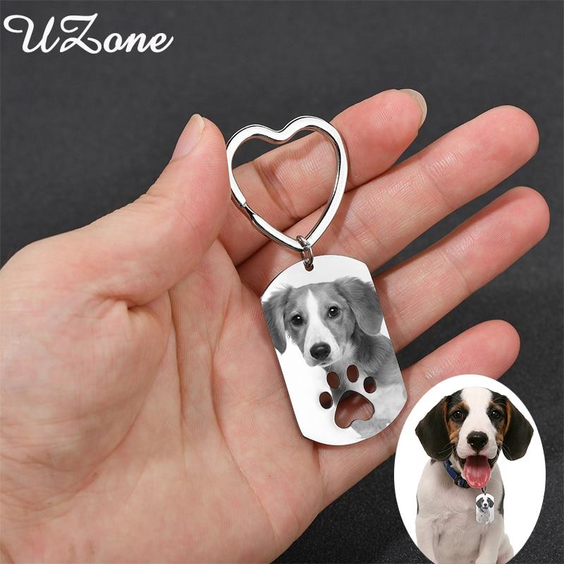 UZone Custom DIY Dog Tag Photo Keychain Stainless Steel Engraved ID Keychain For Love Dog People Dog Keepsake Key Chains    - AliExpress