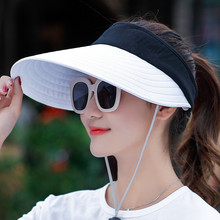 women summer sun visor wide-brimmed hat beach hat adjustable UV protection female cap beach hat summer women