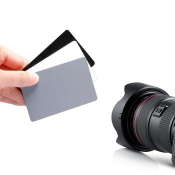 Akcesoria do aparatów 3 w 1 kieszonkowy rozmiar karta balansu bieli z paskiem na szyję do aparatu cyfrowego Canon Nikon Sony Minolta Pentax tanie i dobre opinie Xunjieyun CN (pochodzenie) 10*8cm Rectangle White balance card Black white grey balance card for Canon Nikon Sony Minolta Pentax