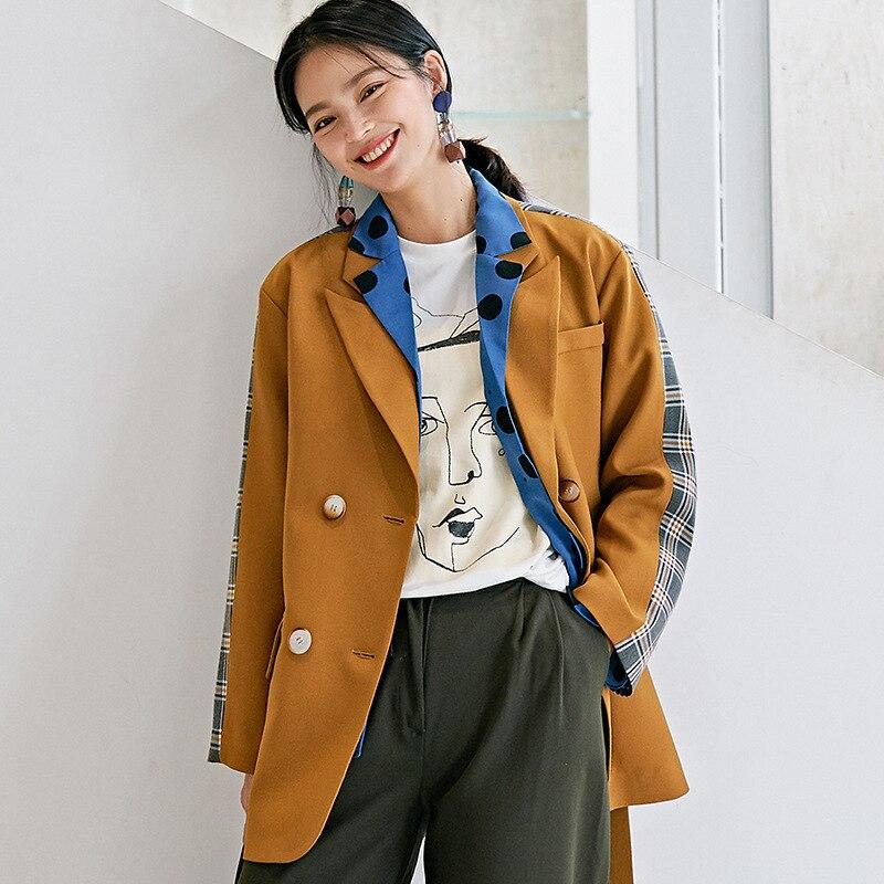 LANMREM Stitching Lattice Double-breasted Belt Woman Blazer Jacket Casual Personality Fashion 2020 Spring Coat New TV396