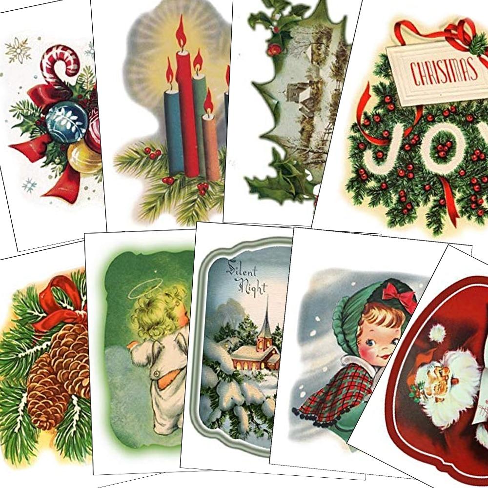 18 sztuk/zestaw Vintage Christmas jadalne wafel papier do babeczka Topper ciasto dekorowanie narzędzia materiał świąteczny
