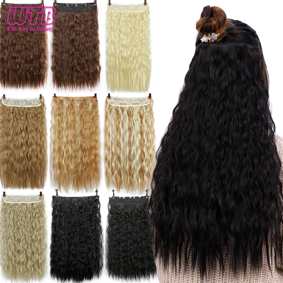 WTB Long Black Corn Curly Synthetic 5 Clip In On Hair Extensions Hair Pieces For Women Natural Heat Resistant Fake Hair