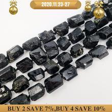 LiiJi collier de Bracelet, 39cm, grosses perles en tourmaline noire, dimensions approximatives 15x20mm/15x18mm