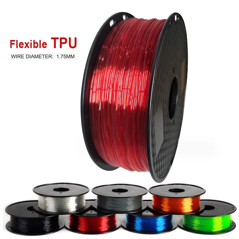 Elastische Flexibele Tpu 3D Printer Filament 1.75Mm 85A Rubber Materiaal Roll Flex 500G 250G Rood Zwart Blauw filament Voor 3D Afdrukken