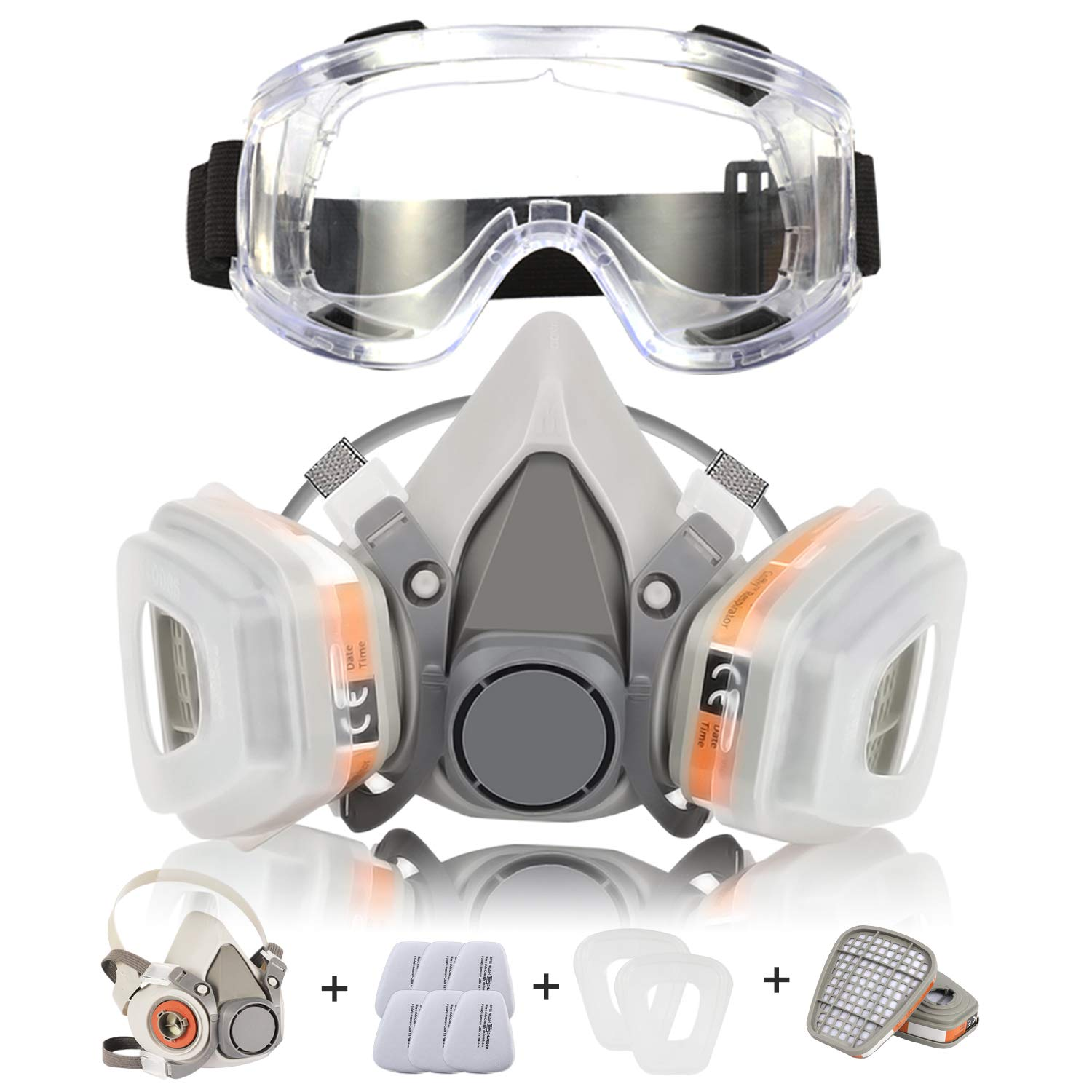 Respirator Mask Half Facepiece Gas Mask Safety Glasses Reusable  Breathing Protection Against Dust Organic Vapors Pollen