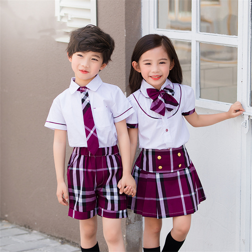 Summer Teenagers School Uniforms Girls Plaid Skirt Performance Costumes Japanese Style Clothing Suit 2pcs Class Set