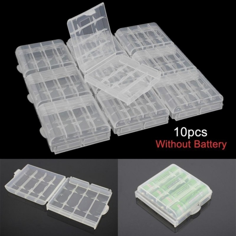 Hot sale 10pcs/lot Colorful Battery Holder Case 4 AA Hard Plastic Storage Box Cover For 14500 10440 Battery Organizer Container