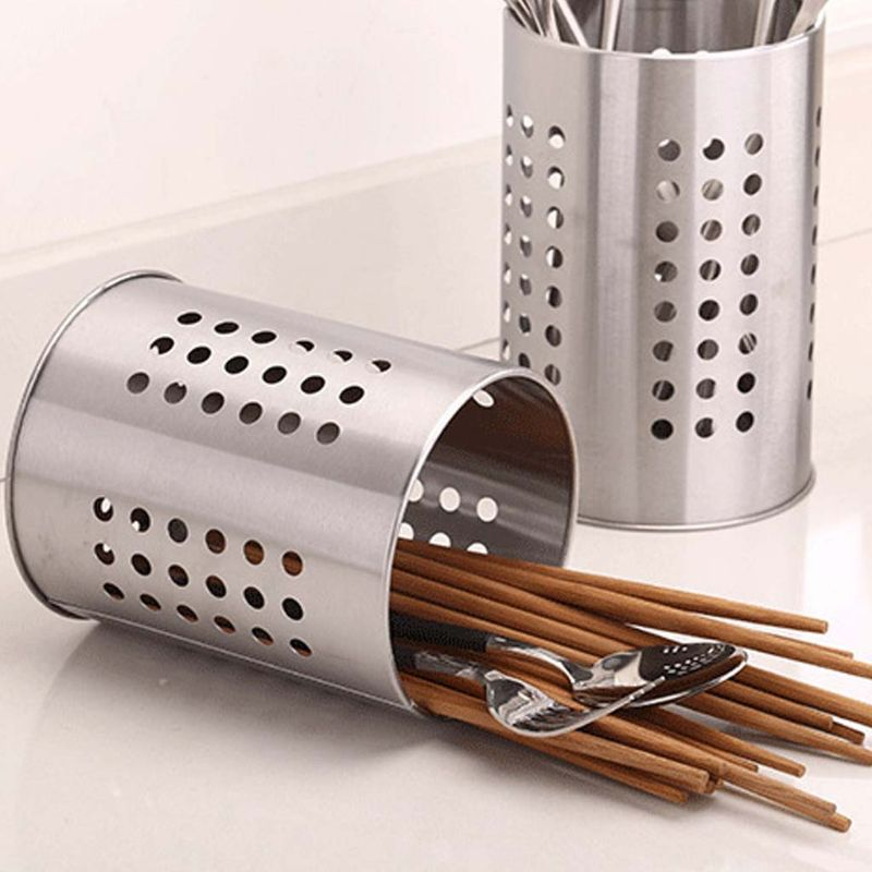 Stainless Steel Kitchen Cooking Utensils Holder Crock Drainer Flatware Caddy Cutlery Organizer Tableware Storage Serving Tool