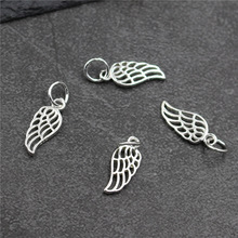 Real 925 Sterling Silver DIY Jewelry Accessories Wing  Charm Suit Handmade Earrings Bracelet Pendant Necklace A0249
