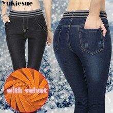 Musim Dingin Hangat Tebal Ripped Skinny Jeans Pensil Wanita Plus Ukuran Tinggi Pinggang Ibu Celana Jeans Celana Denim Celana Jeans Wanita