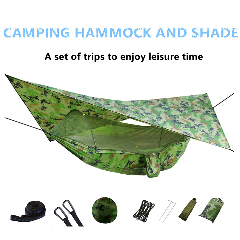 Outdoor Camping Hammock With Mosquito Net And Sun Shelter,Pop-Up Portable Double Parachute Swing Hammocks Tent Tarp Rain Fly