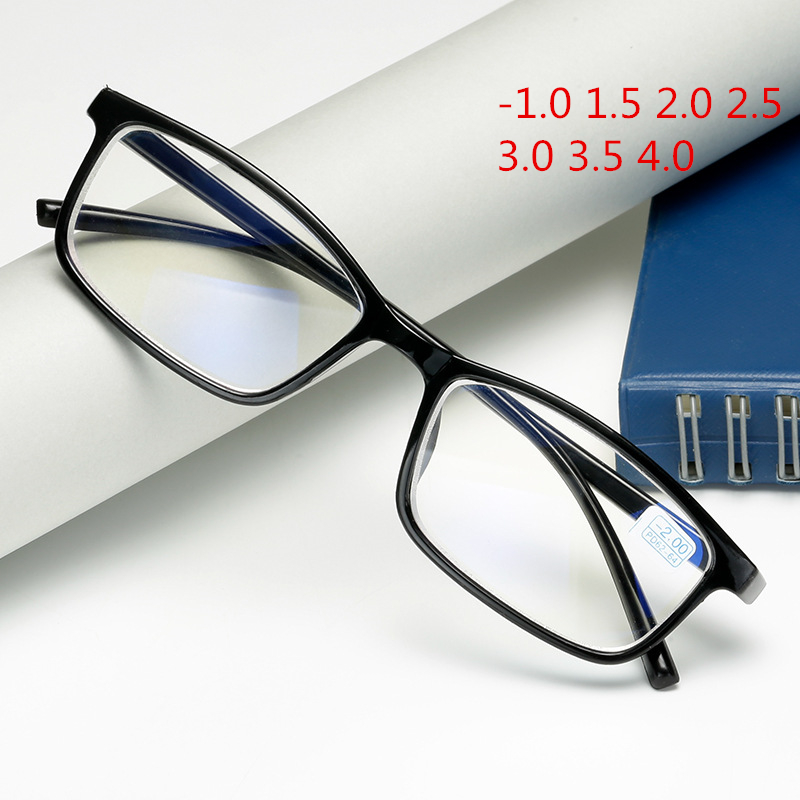 Oulylan Finished Myopia Glasses Women Men TR90 Blue Film Eyeglasses Computer Eyewear -1.0 1.5 2.0 2.5 3.0 3.5 4.0