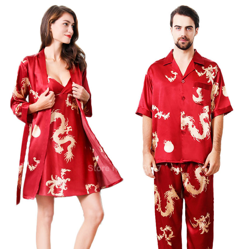 Women Silk Satin Pajamas Set Summer Short Sleeve Comfy Smooth Sleepwear Couple's Men Chinese Dragon Lounge Robe Gown Set