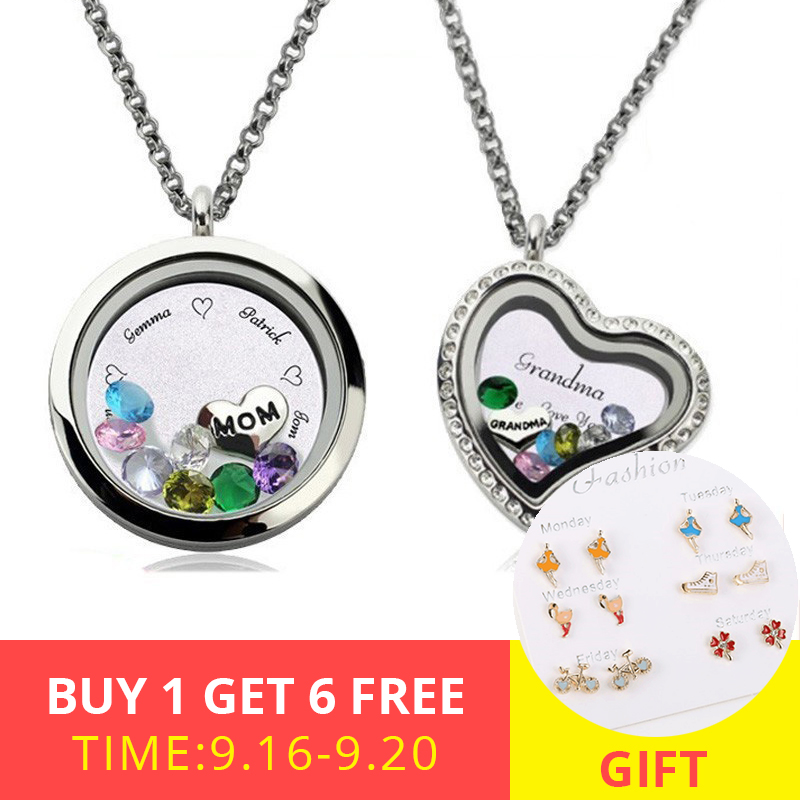 AILIN Family Tree Necklace Mothers Necklace with Birthstone Grandmas Gift Custom Floating Locket for Mother