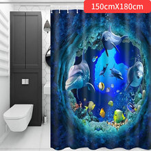 Shower Curtain Curtains Sea Dolphin Polyester Fiber Bathroom Decoration Blue Ocean Toilet Home Window Waterproof Eco-Friendly