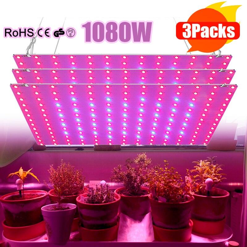 Led crescer luz interior 1080w painel de espectro completo phyto lâmpada ultrafinos painel planta lâmpada 169 azul vermelho duplo espectro 1/2/3 pçs