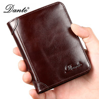 dante RFID Blocking Wallet Men Genuine Cow Leather Purses Identity Theft Protection Money Bag Cards Holder Clutch Wallets