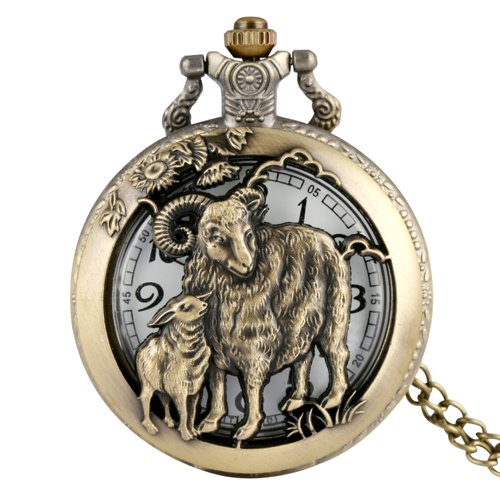 Bronze Pocket Watch Chinese Zodiac Sheep Half Hunter Pendant Watches Necklace Chain Steampunk Fob Watch Clock Men Women's Gifts