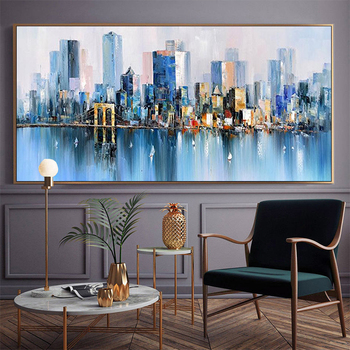Painting Banners hand-painted Decorative Painting Abstract Modern Urban Color Light Luxury Living Room Bedroom Sofa Backdrop Pai