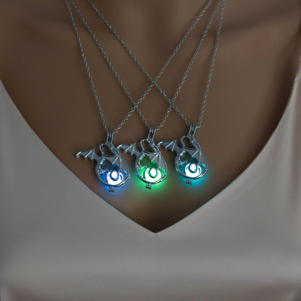 Dragon Glow in the Dark Necklaces Women Luminous Stone Pendant Necklaces Sliver Plated Man Necklace Jewellery