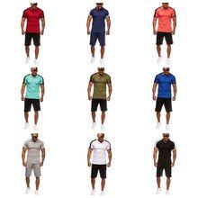С коротким рукавом мужская спортивный костюм к 2020 году новые летние Европейские мозаики случайные тонкий мужчин t рубашка два-кусок наборы спортивный костюм
