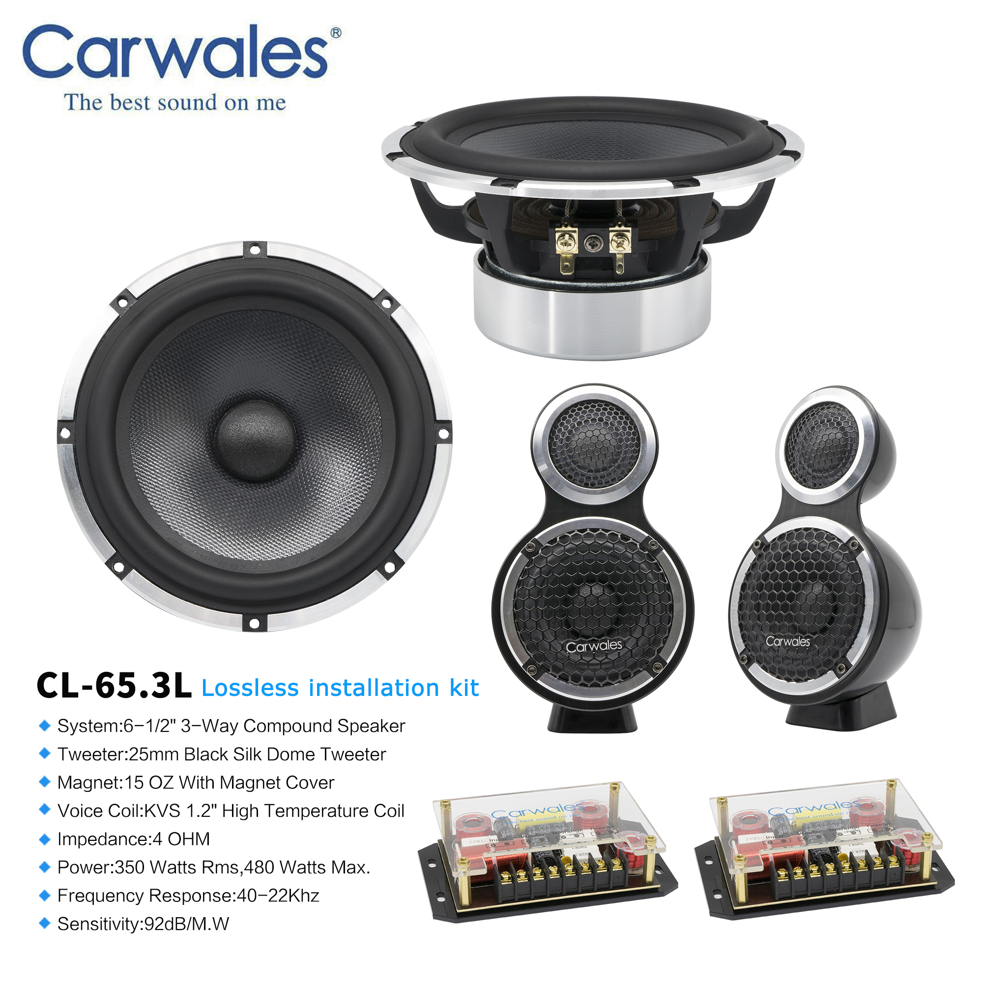 """Lossless Installation 6.5"""" 3 way Car Sound System 3.5 """" Midrange Treble Full Frequency Component Speakers Kit Subwoofer for CarSpeakers Sets   -"""
