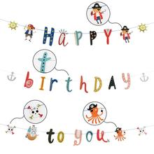 цена Pirate Happy Birthday Banner Pirate Cake Topper Pirate Party Supplies Kid Party Decorations Gift Home Decoration онлайн в 2017 году
