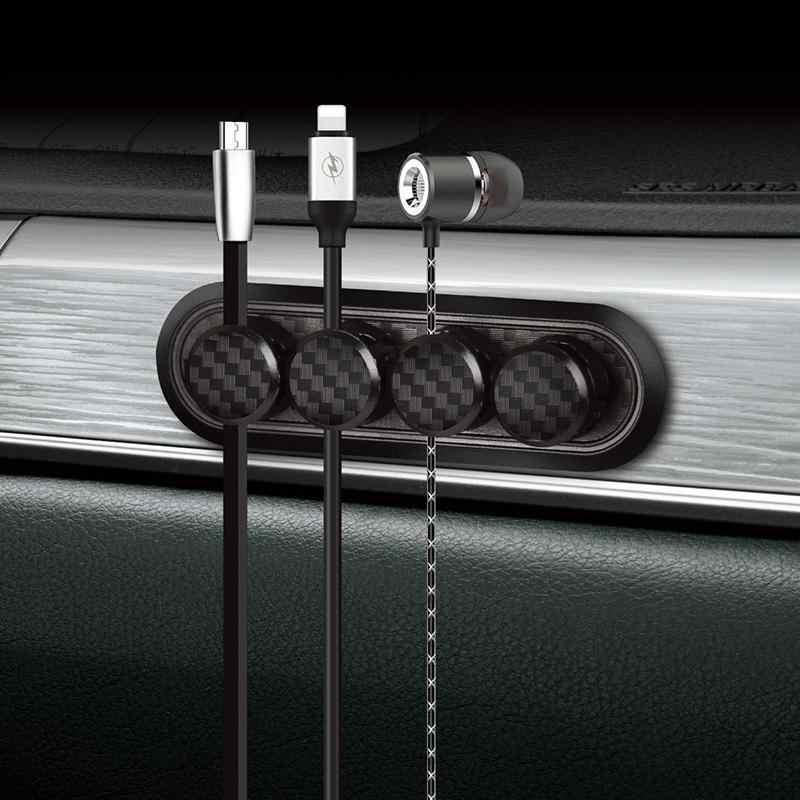 GloryStar Carbon fibre Magnetic Organizer przechowywanie kabel środkowy pulpit stojak do przechowywania przewód zasilający uchwyt do żyłki danych klip USB Charger