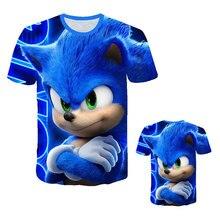 Summer Boys Cartoon Sonic hedgehog t shirt Blue 3D Printed Girls Streetwear Children Kids Clothes Baby Funny Tshirt O-Neck