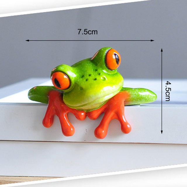Creative 3D Craft Frog Figurine Decoration Ornament Statue Home Garden Decor Desk Table Shelf Figurines Kids Toys Gift 4