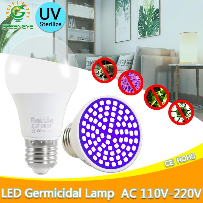 UV Germicidal Led Light E27 GU10 Led Bulb MR16 Disinfectant Lamp E14 LED UVC Light Bulb AC 220V 240V 2835SMD LED Sterilizer Lamp