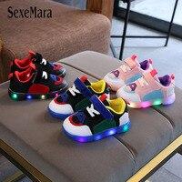 Crianças sapatos esportivos crianças meninos casuais brilhante tênis moda light up respirável meninas sapatos crianças fundo luminoso b08041 Tênis     -