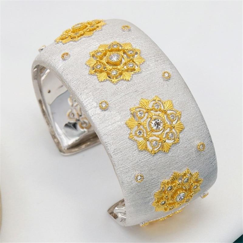 CMajor S925 Sterling Silver Fine Jewelry Delicate Temperament Flower Shape Wide Cuff Bangles for Women Valentine's Day Gift