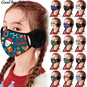 2-In-1 Earmuffs Warmer Mouth-Cover Christmas-Print Winter Kids Children 3D Mascarillas
