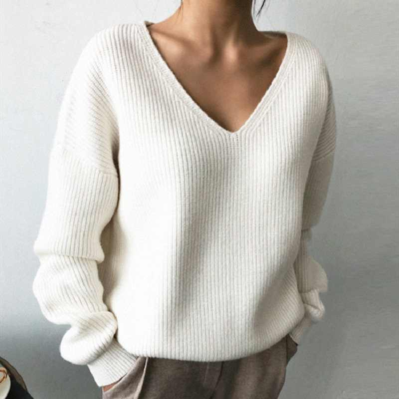Fashion Autumn Women/'s Hollow Sweater Knitted Pullover Back Bow Casual Tops 2019