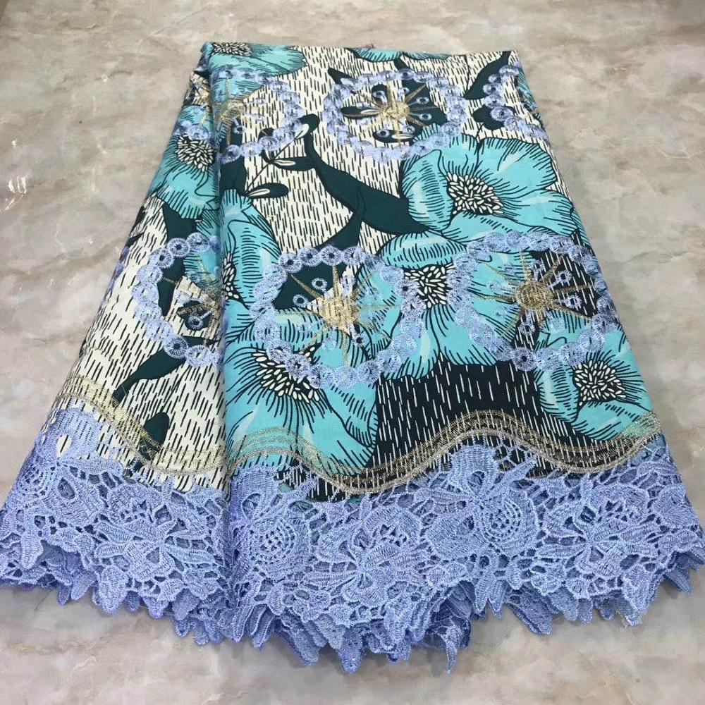 Hot Ankara Wax Lace Fabric Cotton Embroidery Wax With Lace Materials Nigerian African Fabric Wax Print For Dress Wedding 6 Yards
