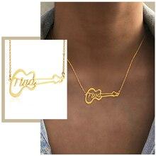 Nom court colliers personnalisés pour femmes 1 6 mots tour de cou Initial guitare pendentif acier inoxydable bijoux personnalisés cadeau danniversaire