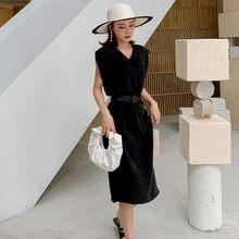 Vestido de verano negro sin mangas con tiras de rayón, cuello en V