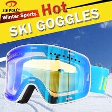 Лыжные очки, двухслойные линзы, бренд, Зимние виды спорта, сноуборд, очки, анти-туман, УФ-защита, для взрослых, Лыжный спорт, маска, магнит