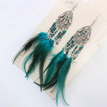 Bohemia Long Tassel Feather Ethnic Dangle Earring Boho Vintage Beaded Exaggerated Drop Earrings Accessories Wholesale(China)