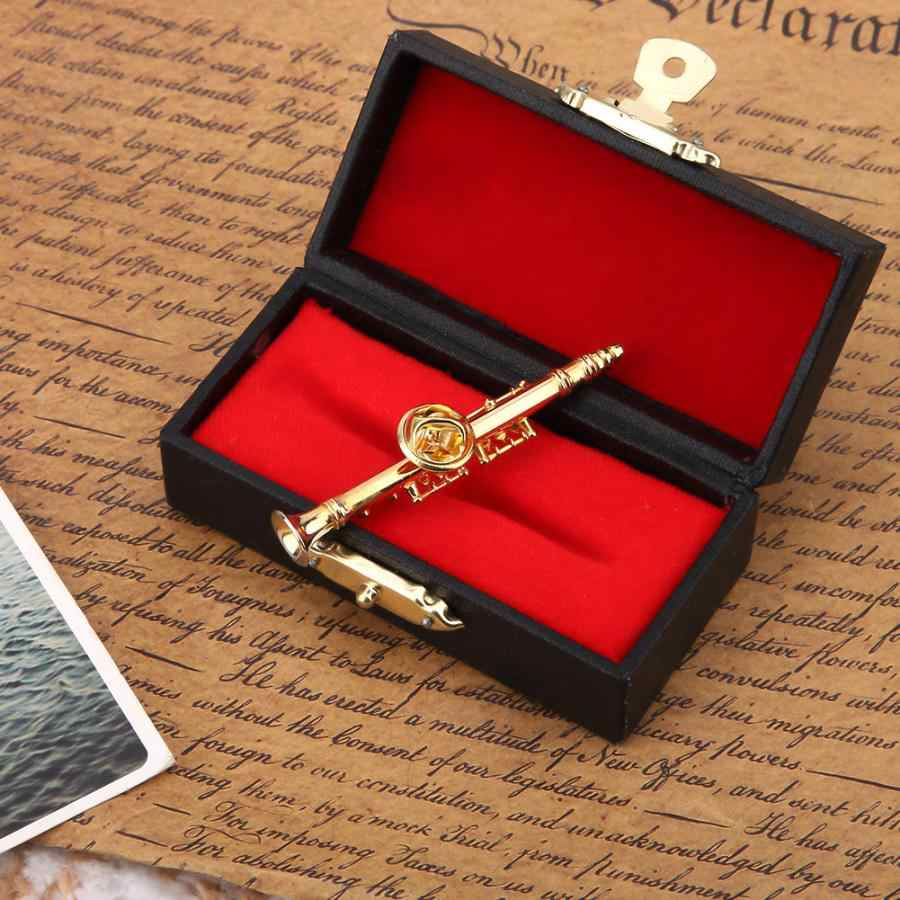 Gold Plating Klarinet Broche Muziekinstrument Broche Pin met Gift Box voor Kleding Decoratie