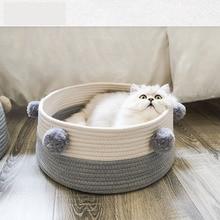 Mat Summer Kennel Puppy-Basket Sleeping-House Knitted Washable Round Cotton Anti-Scratch