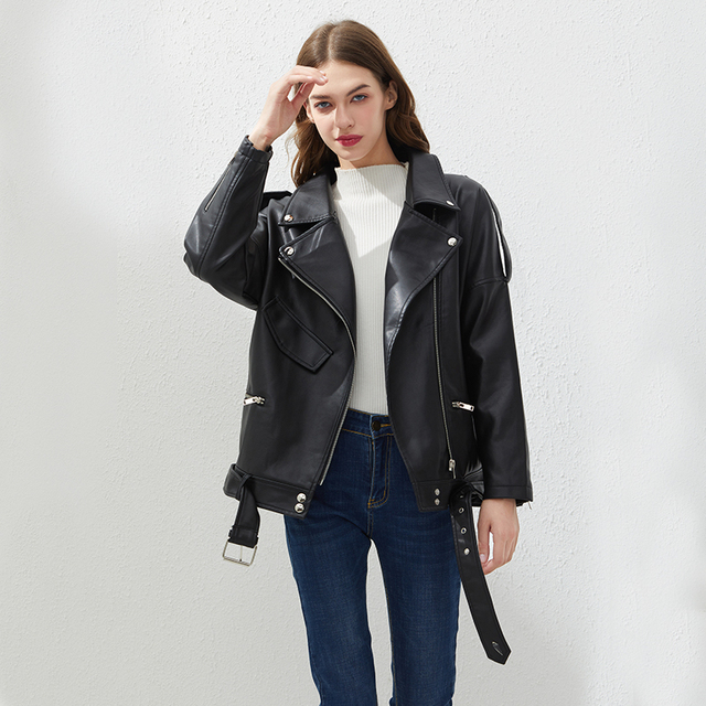 Fitaylor PU Faux Leather Jacket Women Loose Sashes Casual Biker Jackets Outwear Female Tops BF Style Black Leather Jacket Coat 4