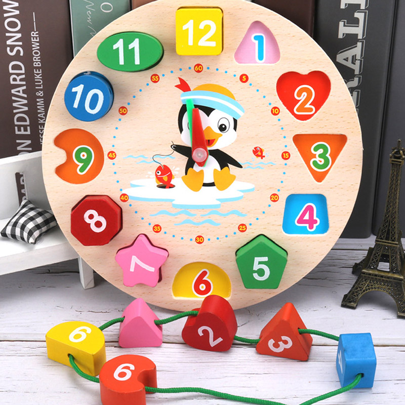 1 Pc Wooden Penguin Shape Clock For Baby Kids Size 17.5*17.5cm Baby Early Education Toy Gift Number Beading Game